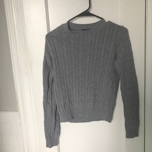 Grey cable knit pullover sweater